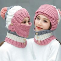 Windproof Beanies Hat Women Warm Knit Hats Scarf Sets Female Winter Padded Mask Neck Protector 3 PC Set Cycling Wool Caps #113