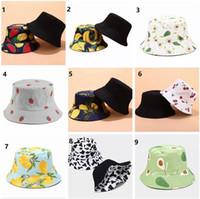 Unisex Cotton Bucket hat Fashion Women Fruit Print Double Side Wear Reversible Bucket Hats Fisherman Caps Sun hats