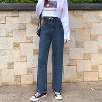 Jeans femininos guuzzyuviz azul cinza mulheres reta plus tamanho alta cintura larga perna calças de denim outono inverno senhoras calças