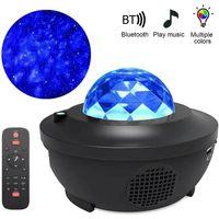 Colorido Starry Sky Projetor Luz Bluetooth Voz Controle de Voz Music Player Speaker Led Night Light Galaxy Star Projection Lâmpada Aniversário