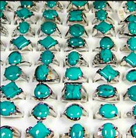 Top Mulheres Moda Turquesa Green Stone Prata Banhado Anéis Integral Jóias Bulk Lots Frete Grátis PS2488