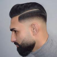 SIMBOAUTY Super Natural Hommes Système de remplacement pour cheveux Vrai Gents Humains Pinceaux Humains Ultra mince Poly Skin V Looped Hommes Toupée