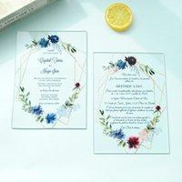 Transparent Hochwertige UV-Druck Acryl Karte neu individuelle preiswerte Hochzeit Einladung Blume mit Rahmen