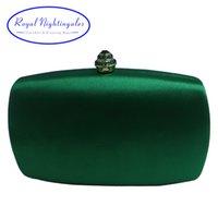Элегантный Hard Box Clutch Шелкового сатин Темно-зеленый Сумка для Matching обуви и женской Свадьба Выпускной вечер партии Q1113