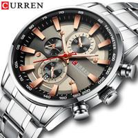Montre-bracelet pour hommes de montre avec bracelet en acier inoxydable mode quartz chronographe chronographe lumineux montres de sport uniques