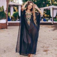 2021 Bohemian Noir Brodé Summer Beachwear Beach Housses Kaftan Beach Femme Tunique Tunic Robe Robe PLAGE PLAGE POWER PEURE COUVERTURE UP Q960
