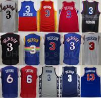 Georgetown Hoyas College Allen Iverson Jersey Men Basketball Dr J Julius erving Wilt Chamberlain Blue Blue Black Blanc Rouge de bonne qualité