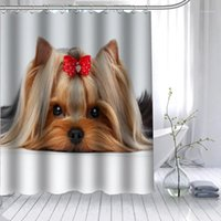 Душевые занавески Шунян Йоркширский терьер собака занавес полиэстер ткань 12 крючков для ванной комнаты водонепроницаемая плесень застенчивая ванна Curnain1