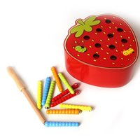 لعب طفل خشبي 3d لغز الطفولة المبكرة ألعاب تعليمية الصيد دودة لعبة اللون المعرفي المغناطيسي الفراولة التفاح