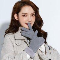 Fünf Finger Handschuhe Frauen Nettes Spiel Handy Warme Guante Weiche Leder Winter Dehnbares Stricken Gestreifter Fingerle 2021 # P2