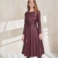 Dabourfeel мода пояс из искусственных кожаных платьев женщин с длинным рукавом Slim Fit PU платье сексуальный клуб носить новое поступление осенью зима 201204