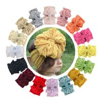 INS lace large hair bows baby headbands newborn headbands gi...