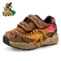 Dinoskulls 3-9 años Boys Dinosaur Sneakers Sneakers Autumn Kids LED Zapatos deportivos con cuero ligero Zapatos T-Rex Y201028