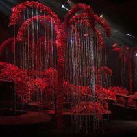 Party Dekoration HVAYI Hochzeit Bogen Eisen Kristallbaum Gefälschte Blume Hängende Regenschirmform Stand Hintergrund Wunsch