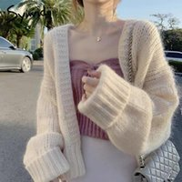 Syiwidii Sweater Sweater Mulheres Cardigans Loose Womens Casacos Casuais Moda Malha Sólida Mulheres Vestuário 2020 Khaki Bege Rosa