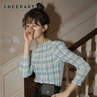 CHEERART Plaid T Shirt Women Permanent Pleat Vintage Long Sleeve Crop Top Tee Shirt Femme Underwear Clothes 201014