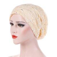 Yaz Ince Dantel Türban Katı Pamuk İç Hijab Kapaklar Yumuşak Glitter Müslüman Kadınlar Turbante Bonnet Wrap Kafa Başörtüsü Underscarf Cap