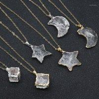 Кулон ожерелья сырые минеральные редкие целебный камень натуральный четкий кварц для женщин звезда луна белое хрустальное ожерелье Choker1