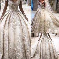 Ziad Nakad 2020 de lujo del detalle floral 3D de bola del vestido de boda vestidos increíbles con cuentas Oriente Medio Arabia Saudita Princesa Real vestidos de boda