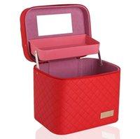 Multi-camada de grande capacidade caixa da composição pu viagens quadrado caixa de armazenamento de grande estéreo impermeável usável saco cosmético conveniente