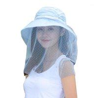 Mujer playa algodón mezcla elegante elegante sol sombrero casual anti uv portátil de velo desmontable velo verano al aire libre camping ancho a lo ancho