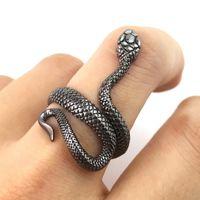 Snake bagues pour hommes femmes punk goth serpent ouverte bague doigt exagéré vintage gothique gothique anneaux de fête cadeau bijoux mujer bijoux