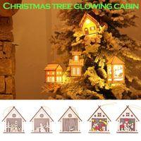 # 25 Светодиодные светлые деревянные куколы дома вилла украшения рождественские дерево висит декор рождественские светящиеся кабины дома украшения для рождества1
