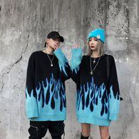 TRIPLELEARAF AUTION YENI PARÇAX O-Boyun Boyun Boyuna Çekin Çift Casual erkek Kazak Erkekler Streetwear Retro Alev Desen Hip Hop1