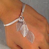 Braccialetti di fascino Fashion Donne Gioielli Braccialetto in lega di metalli in lega di metalli in lega foglia regalo all'ingrosso1