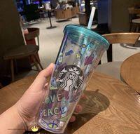 500 ملليلتر لطيف ساكورا ستاربكس كأس مزدوجة البلاستيك مع القش المواد الحيوانات للأطفال الكبار girlfirend للهدايا المنتجات شحن مجاني