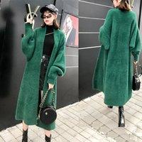 Chaqueta de piel de peleo fishada coreana suéter otoño invierno nuevo grueso terciopelo ropa mujeres tamaño grande suelto largo punto cárdigan abrigo F1507