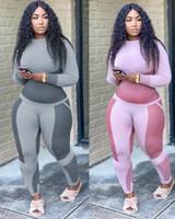 النساء 2 قطعة المسار الدعاوى مصممي الملابس 2020 طباعة أعلى طويلة الأكمام والسراويل بيع الساخنة