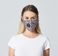 Women Unisex Face Valve Black Leopard Anti- fog Masks Face Ma...