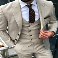 Beige Double- breasted Suit Mens Wedding Suits 2020 Custom Ma...