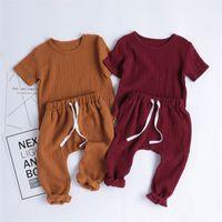 Mode Baby Kleidung Set 4 Feste Farbe Leinen Baumwolle Kreishals Kurzarm Hemd Harem Hosen 2 Stück Junge Kinder Kleidung 26mx L2