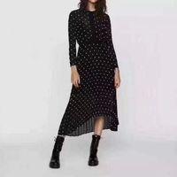 2018 Fransız İşlemeli Pileli Uzun Elbise Uzun Kollu Crewneck Lady Çiçek Nakış Madi Elbiseler Kadın Elbise Mbl8903 Sonbahar Sonbahar Sonbahar