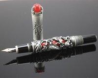 Penne fontana Jinhao Golden Dragon King Play Pearl Fine 18kgp penna penna inchiostro / grigio per la scelta regalo d'affari ufficio ufficio