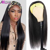ALLOVE 30 дюймов прямой полный машиной сделан парик ни один кружевной парики вьющиеся свободные глубокие водяные тела человеческие волосы парики с повязками для черных женщин