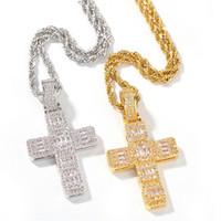 Hip Hop vintage gioielli whitegold riempimento croce pendente a croce catena in acciaio inox full principessa taglio bianco topazio cz diamante donne uomini collana regalo