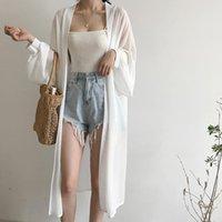 여성용 블라우스 셔츠 쉬폰 카디 건 Kimono Beach 여름 여성 긴 소매 흰색 셔츠 플러스 사이즈 빈티지 옷 Blusas Mujer de moda 2