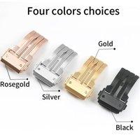 Edelstahl-Uhr-Verschluss für Hub 18mm 20mm 22mm 24mm schwarz silberner rosafarbene gold gebürstetes deployment wackband buckle1