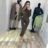 Taotrees Sonbahar Kadın Katı Renk Örme Kazak Elbise Sıkı Uzun Örgü Elbiseler1