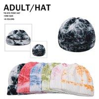 Nouvelle hiver Tie Dyed Bonnet court melon Cap coloré crâne unisexe pêcheur Hip Hop Bonnet Calotte DDA632
