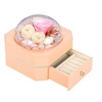 Fleurs décoratives Couronnes 1pc octogonal Single Couche Boîte à bijoux Cadeau romantique (Orange)