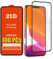 21D tampa completa protetor de tela de vidro temperado para iphone 6 7 8 x xr 11 12 pro max samsung huawei telefone android