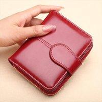 Hot Sale Wallet Short Wallet PU Womens Purse Zipper Button Purse Red Small Wallet Coin Pocket Cartera