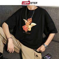 Homens camisetas Lappster verão homens anjo harajuku tshirts 2021 Chegada dos homens de chegada t-shirt de algodão de algodão masculino casual preto tops1