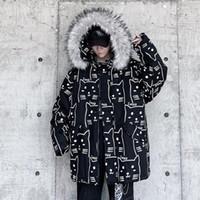 Hôtel Hybskr 2021 Hommes d'hiver Parka Casual Parka Casual Chauffé Grand manteau Imprimé Imprimé Imprimé Épaississement Zipper Coréen Streetwear Mens Vestes