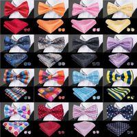 2020 Nuevo 25 estilos conjuntos de estilo de negocios del banquete de boda de los hombres de moda Bowtie pajarita de seda Para Barry.Wang pajarita del pañuelo mancuernas de los hombres