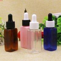 50pcs 30ml 사각형 액체 애완 동물 플라스틱 Dropper 병 1 온스 맑은 앰버 핑크 블루 브라운 컨테이너 에센셜 오일 useHigh qualtity